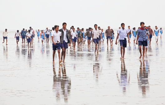 School kids on the beach at Chandipur.
