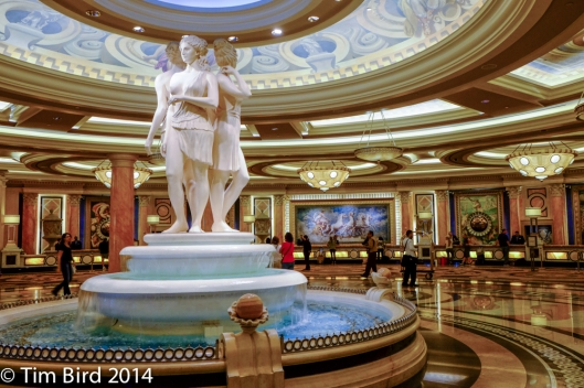 The restrained and tasteful reception area of Caesar's Palace.