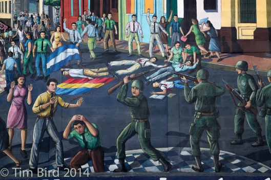 Street mural commemorating the July 23, 1959 massacre of slaughters in Leon.