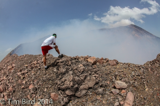 My guide, Jesus, took me to the mountain. Here he is peering in to the smouldering crater of the Telica volcano.