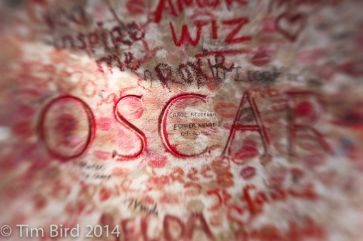 I have heard Oscar's memorial has been sealed off to prevent his many devotees from planting their lipstick on it.