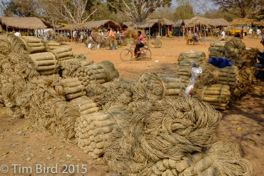 Rope for sale at the Sabai grass market in Odissa.
