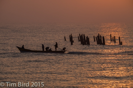 Fishing boat at sunrise at Pondicherry, the one-time French colony on the south-east coast.