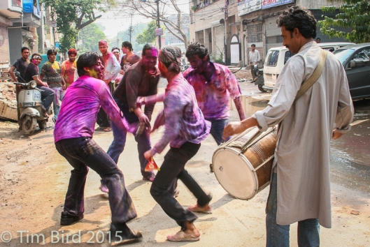 OK, I'm feeling generous, so here's a seventh, bonus shot of the spring Holi festival in Delhi. I needed a bodyguard to stop the guys throwing paint on my camera. My camera came out of the ordeal safely - I was covered in paint myself.
