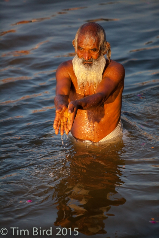 A bather in the Ganges at sunrise on the main day of the Hindu Kumbh Mela festival at Allahabad.
