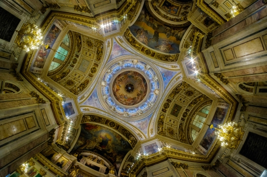Ceiling and frescoes of St Isaac's Cathedral in St Petersburg, Russia.