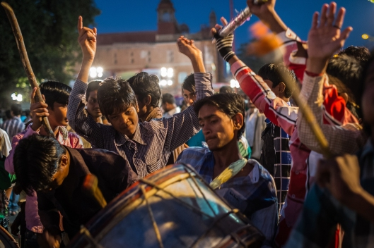 Celebrating boy drummers at a Muslim festival in Jaipur, India